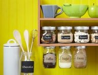 Mason jar kitchen organization.