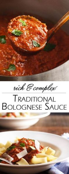 & Complex Traditional Bolognese Sauce Rich & Complex Traditional Bolognese Sauce - A long, slow simmer builds layers of flavor and makes this Bolognese sauce so rich and complex! Meaty, silky, and hearty. This is a sauce worth having on your stove all day Pasta Recipes, Beef Recipes, Dinner Recipes, Cooking Recipes, Chicken Recipes, Spaghetti Bolognaise, Spagetti Bolognese Recipe, Pasta Bolognese Sauce, Homemade Bolognese Sauce