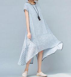 【Fabric】 Linen, cotton 【Color】 Light blue,light pink 【Size】 Shoulder 39 cm / 15.2 Bust 108cm / 42 Sleeve 10cm / 3.9 Length 93-114cm / 37-45 Have