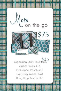 September Customer Special - For every $35 you spend, get an Organizing Utility Tote for 1/2 price.  www.mythirtyone.com/