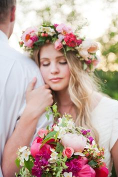 Rustic Brunch Wedding Photo Shoot by Brooke Schultz Photography featuring Floral Crown. I was wearing a floral crown at my own wedding Romantic Wedding Flowers, Neutral Wedding Flowers, Purple Wedding, Spring Wedding, Wedding Photoshoot, Wedding Shoot, Dream Wedding, Boho Wedding, Rustic Wedding