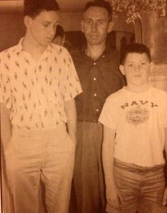 """american—night: """" Jim with his father George and younger brother Andy """""""