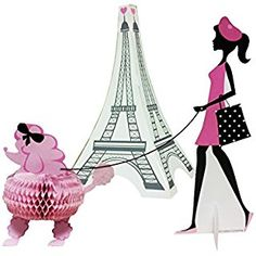 Creative Converting 265584 3 Piece Party in Paris Centerpiece Set, Pink/Black