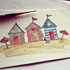 Beach hut joy! / Blue Chair Diary Illustrations