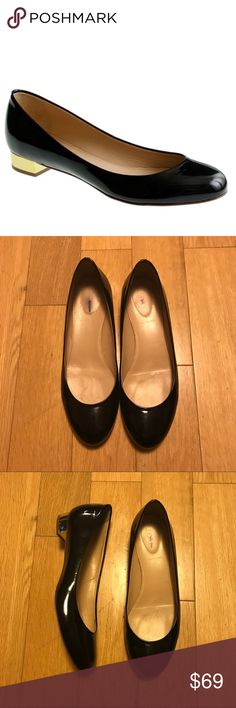 J Crew Janey flats J crew patent black Janey flats in size 8. Bought these at the j crew sample sale wore them once and unfortunately they're too big. They have some wear and tear that can be seen in the pics but over all in great shape! J crew shoes are made in Italy which is why I love them! Let me know if you have any questions! J. Crew Shoes Flats & Loafers