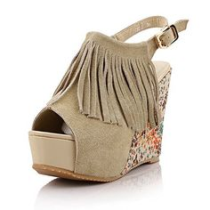 WeiPoot Womens HighHeels Frosted Solid Buckle Peep Toe Platforms  Wedges Beige 37 >>> Click image for more details.