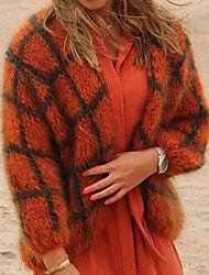 Naisten Color Block Pitkähihainen Neule Neulepusero, V-pääntie Talvi Oranssi / Apila / Khaki S / M / L Green And Orange, Plaid Scarf, Sweater Cardigan, Cardigans, Sweaters, Fur Coat, Sleeve Pattern, Knitting, Stylish