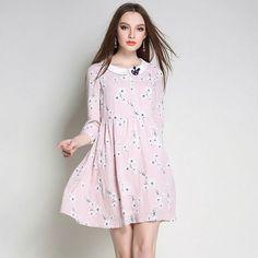Peter Pan Collar Floral Printed Baby Doll Dress Three Quarter Sleeve Tie Waist Cotton Mini Dresses Plus Sizes l to 5xl