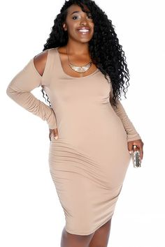 0d6db135c5 Sexy Mocha Plus Size Shoulder Cutout Casual Dress