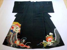 Japanese Antique Kimono Silk Black Tomesode Folding Fan P120222   eBay