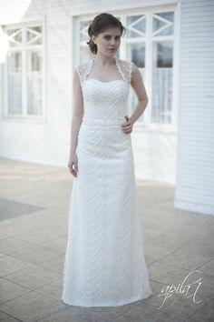 Lace Long Wedding Dress Satin and Lace Bridal by ApilatWedding
