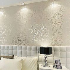 Bedroom Wallpaper Designs Mesmerizing Floral Textured Damask Design Glitter Wallpaper For Living Room Inspiration Design