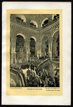 1901 Halftone Print Paris Opera House interior  Edouard Detaille  dans «Le Côté de Guermantes» iwanami 5 p.84