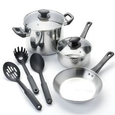 Kitchen la carte 8-pc. Stainless Steel Cookware Set ** For more information, visit now : Cookware Sets