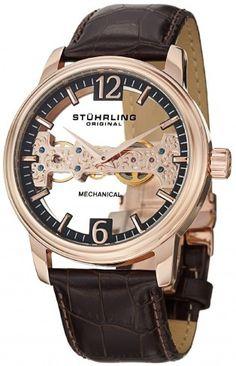 Stuhrling Original 841.03 Aristocrat Cardinal Rose Tone Mechanical Skeleton Watch For Men