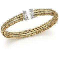 Roberto Coin 18K Yellow Gold Primavera Woven Bangle with Diamonds ($3,530) ❤ liked on Polyvore featuring jewelry, bracelets, gold, gold bracelet bangle, 18 karat gold jewelry, gold jewelry, diamond bracelet bangle and diamond jewelry