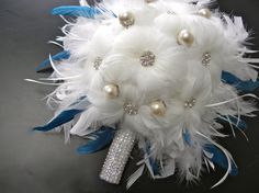White Feather Bridal Bouquet by ChloeAnnDesigns on Etsy, $150.00