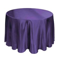 Buy 108 inch round purple satin tablecloth for weddings at LinenTablecloth! Seamless and machine washable table linens, these wedding tablecloths are perfect for other special events too. Wedding Tablecloths, Wedding Linens, Banquet, Hotel Party, Round Side Table, Elegant Table, Round Tablecloth, Cocktail Tables, Table Covers