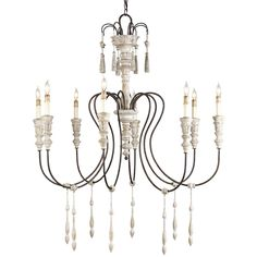 "Hannah Medium Chandelier Currey & Company Stockholm White/Rust 8 Bulbs Wrought Iron/Wood 1 Tier 40""Wx43""Hx 40""Diameter"