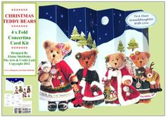 Christmas Teddy Bears 4 x Fold Concertina Card Kit  on Craftsuprint designed by Elaine Sheldrake - This big A4 decoupage concertina card folds up like a fan so that it fits into a DL (or Bankers) Envelope, making it much cheaper to post. It comes with full, easy to follow printed instructions and is great fun to both make and to receive. Lots of cute teddy bears each holding a toy. In addition to the card I have also included a selection of greetings and a banner tag to go on the back. - Now…