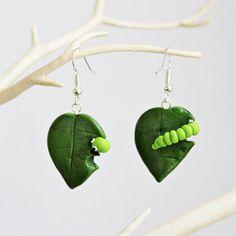Caterpillar Earrings Polymer Clay Earrings Green Leaf