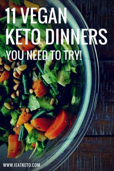 11 Easy Vegan Keto Dinners for a Clean Eating Ketogenic Diet low carb and keto friendly vegan dinner recipes - Delicious Vegan Recipes Vegan Keto Recipes, Vegan Dinner Recipes, Vegan Dinners, Keto Dinner, Diet Recipes, Eat Clean Recipes, Vegan Desserts, Keto Diet List, Starting Keto Diet