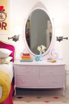 This would be adorable if you could find a dresser/mirror like this at a yard sale. Lots of work to paint, but could be super pretty in the end.