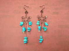 Turquoise Boho Earrings / Wire Jewelry / Blue Dangle Earrings // Turquoise Toned Wire Chandelier Earrings