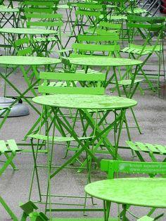 Fresh happy color for garden bistro set