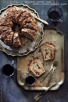 Snickers Coffee Cake with a Salted Caramel Glaze