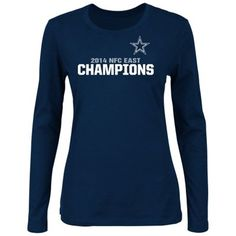 Women s Dallas Cowboys Majestic Navy Blue 2014 NFC East Division Champions  Long Sleeve T-Shirt a1eec0009
