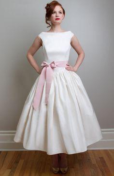Madeleine - True Vintage Inspired Tea Length Wedding Dress