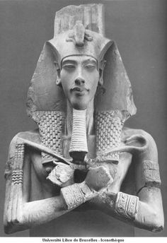 """Statue of King Akhenaten, New Kingdom, 18th Dynasty. Akhenaten (/ˌækəˈnɑːtən/; also spelled Echnaton, Akhenaton, Ikhnaton, and Khuenaten; meaning """"Effective for Aten"""") known before the fifth year of his reign as Amenhotep IV (Greek, Amenophis IV, meaning """"Amun is Satisfied""""). He ruled for 17 years & died perhaps 1336BC-1334BC. He is noted for abandoning traditional Egyptian polytheism and introducing worship centered on the Aten, which is sometimes described as monotheistic or henotheistic."""