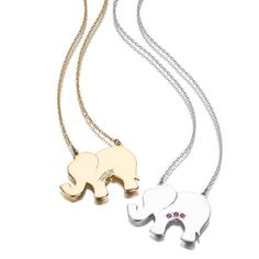 Gold and Silver Lucky Elephant Necklaces! Available on LiliKleinJewelry.com #LiliKlein