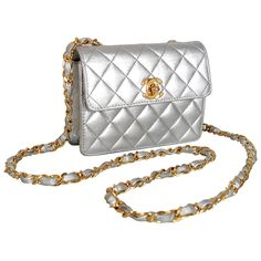 1990 s Chanel Metallic-Silver Quilted Leather Mini Flap Shoulder Bag Purse  1 Silver Purses, 894e0b2145