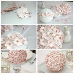 Cómo hacer lampara de flores de papel recicladas paper lamp - Salvabrani