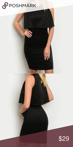 Classy Flounce Sheath Dress This material is great!! A sexy, yet classy black sheath dress!! Can be worn very formal or casual chic! Order 1 size for looser fit. Dresses