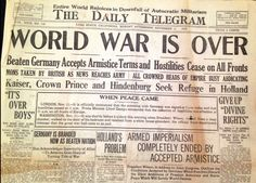 """O jornal californiano O Telegrama Diário, de 11 de novembro de 1918, anuncia em primeira mão o fim da Guerra Mundial que se estendia desde 1914.  """"A derrotada Alemanha aceita o termo armistício e as hostilidades cessam em todas as frentes"""". by: Imagens históricas"""