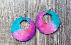 Mermaid Hand-Painted Paper Earrings, Unicorn Earrings, Blue and Pink and Purple Earrings, Abstract Earrings Paper Earrings, Wood Earrings, Custom Earrings, Earrings Handmade, Painted Paper, Hand Painted, Black Acrylic Paint, African Earrings, Purple Earrings