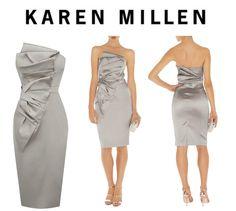 Karen Millen Silver Signature Stretch Satin folded fan Dress size 8