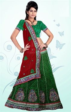 Picture of Fabulous Green and Red Wedding Saree Online