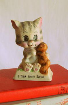 Vintage CAT figurina... casalinghi. amante dei gatti. Penso che tu sei speciale. retrò. gatto d'epoca. gattino. kitsch. casa degli anni settanta. casa vintage. Russ