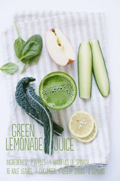 """Lemonade with a green health kick. Recipe from """"Reboot with Joe"""" Juice Book! Juice Smoothie, Smoothie Drinks, Fruit Smoothies, Juice 2, Joe Cross Juice Recipes, Green Juice Recipes, Yummy Smoothie Recipes, Juicer Recipes, Joe Cross Juicing"""