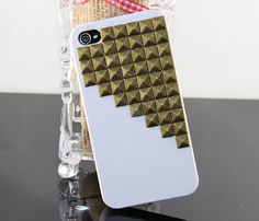 Bronze pyramid stud white  Hard Case Cover for by BeautyandLuck, $14.99