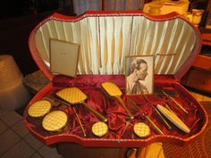Vintage 16 piece Vanity Fair Dresser set original box brush mirror comb -LUD
