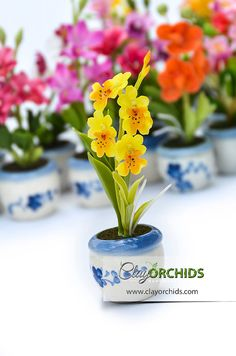 Summer Yellow Oncidium Orchid Handcrafted by by ClayOrchids, $6.50