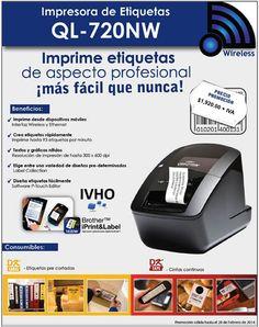 Impresora de etiquetas Brother QL-720NW profesional ideal para casa y oficina con conexión WiFi y cableada.   ¡Imprime sin cables directamente desde tu PC, iPhone o Android!  http://www.youtube.com/watch?v=v-B3RSxSdig