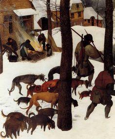 1565 Pieter Bruegel the Elder - Hunters in the Snow, Winter, Detail hunters