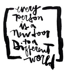 Every person is a new door to a different world... by Kosta for FINNLLOW : #finnllow #brushscript #brushlettering #handlettering #typography #abstractbrushscript #boldbrush #kostandinos #kosta #knbscript #detroit #michigan