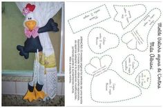 Cute- Maybe I could make something like this for a pet toy also Felt Crafts Diy, Sewing Crafts, Sewing Projects, Felt Patterns, Stitch Patterns, Sewing Patterns, Sewing Stuffed Animals, Stuffed Animal Patterns, Chicken Pattern